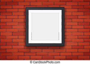 Red brick wall with picture frames