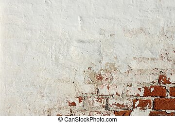 Red Brick Wall With White Damaged Plaster Background