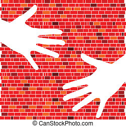 red brick wall with white hand illustration