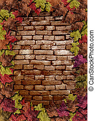Red brick wall with woodbine  - Red brick wall with woodbine
