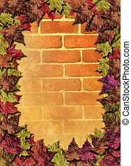 Red brick wall with woodbine