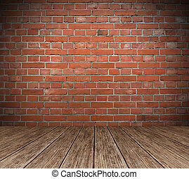 Red Brick wall with wooden floor Background