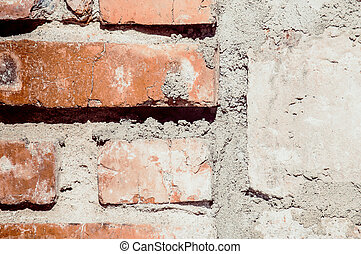red brick with concrete background
