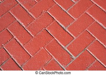 Red bricks herringbone pattern