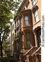 Red bricks houses