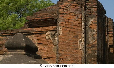 Red bricks in an ancient temple - A close up shot of exposed...