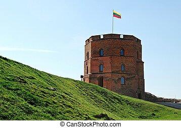 Red bricks old Gediminas castle in Vilnius city. Lithuania.