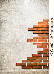bricks pattern on polished cement