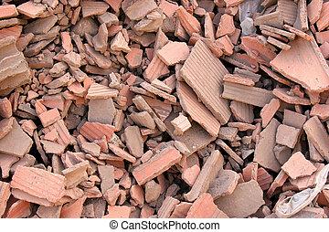 Red bricks rubble