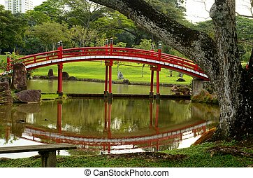 Red bridge and reflection in pond