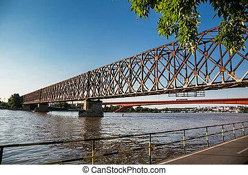 red bridge in Belgrad