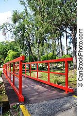 Red bridge in Chinese Garden