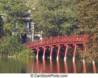Red bridge in Hanoi