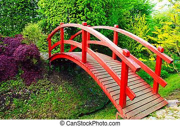 Red bridge in Japanese style garden