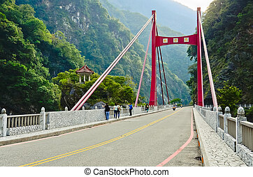 red bridge in Toroko Gorge in Taiwan