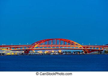 Red Bridge monorail Kobe - Red kobe port monorail bridge at ...