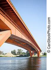 red bridge on river sava