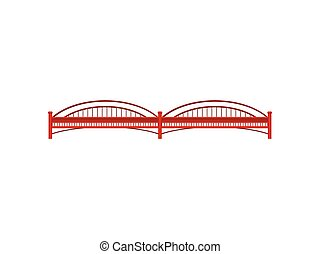 Red bridge on white background. Vector illustration.
