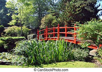 red wooden bridge in the japanese gardens in kildare ireland
