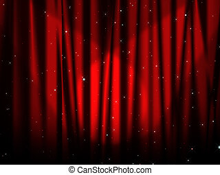 Red bright curtain with stars - red curtain of stage with ...