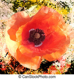 Red  bright poppy on grunge stained colorful background