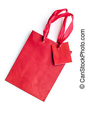 Red bright shopping bag on white background top view mockup