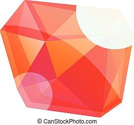 Red brilliant icon, cartoon style