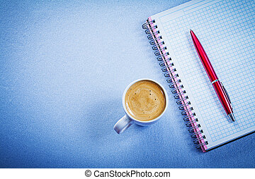 Red brio pen message pad coffee cup office concept