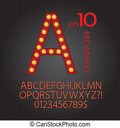 Red Broadway Alphabet and Numbers Vector
