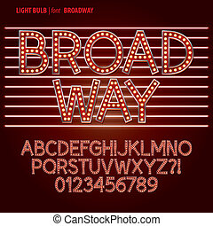 Red Broadway Light Bulb Alpahbet and Digit Vector