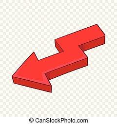 Red broken arrow icon, cartoon style