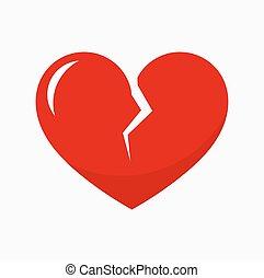 Red broken heart icon. Vector illustration