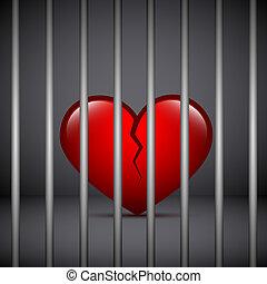 red broken heart in a jail on dark background