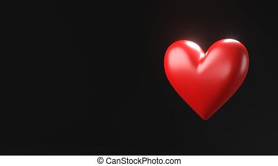 Red broken heart objects in black text space. Heart shape object shattered into pieces.