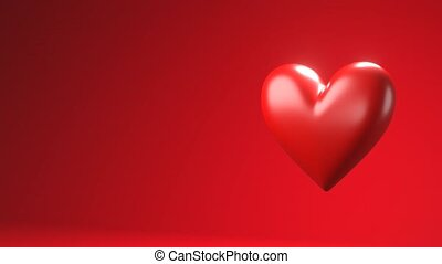 Red broken heart objects in red text space. Heart shape object shattered into pieces.