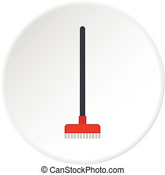 Red broom icon circle
