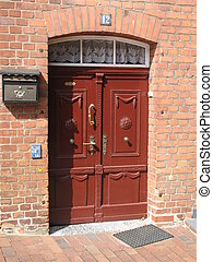 red brown door