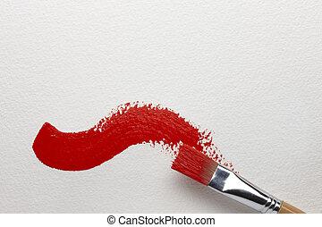 Red Brush Stroke - An artist\'s brush leaves a red brush...