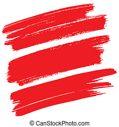 Red brush strokes isolated