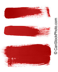 Red brush strokes on white background - High-resolution...
