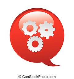 red bubbles with gears symbol icon