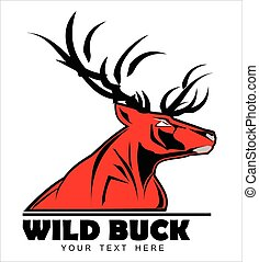 Wild Red Buck, symbolizing power, protection, dignity, etc. Suitable for team Mascot ,community identity, product identity, corporate identity, illustration for apparel, clothing, illustration, etc