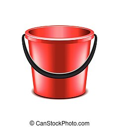 Red bucket isolated on white vector