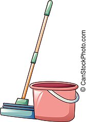 Red bucket sponge mop icon, cartoon style