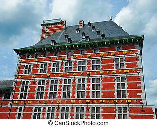 Red building in Liege Belgium