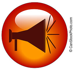 red bullhorn or megaphone web button or icon