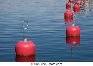 Red buoys in the harbor