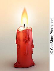 red burning candle 3d illustration