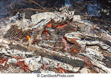 Red burning coals.