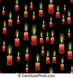 Red Burning Wax Candles Seamless Pattern
